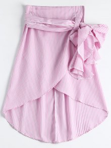 High Waist Ruffled Striped Asymmetric Skirt