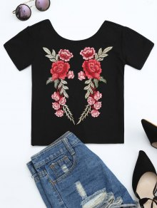 Floral Patched Ribbed Knitted Tee - Black S