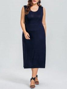 Casual Plus Size Cut Out Dress - Purplish Blue 5xl