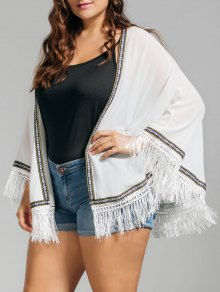 Plus Size Embroidered Fringed Cap Blouse