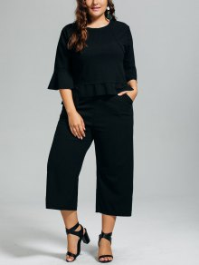 High Low Blouse And Capri Wide Leg Pants Plus Size Suit - Black 2xl