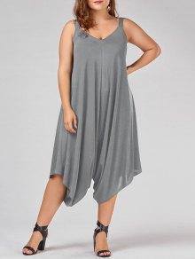 Plus Size V Neck Baggy Capri Jumpsuit - Gray Xl