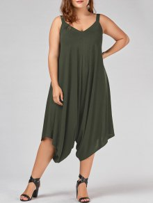 Plus Size V Neck Baggy Capri Jumpsuit - Army Green Xl