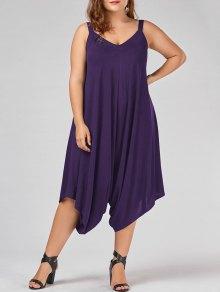 Plus Size V Neck Baggy Capri Jumpsuit - Purple 4xl