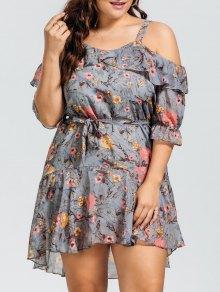 Floral Plus Size Cold Shoulder Dress - Floral 2xl