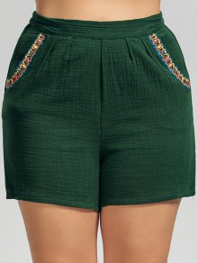 High Waisted Plus Size Embroidered Shorts - Deep Green 2xl