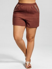 High Waisted Plus Size Embroidered Shorts - Brick-red 2xl