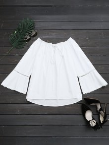 Ruffle Hem Cut Out Blouse - White S