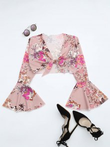 Floral Print Flare Sleeve Crop Blouse