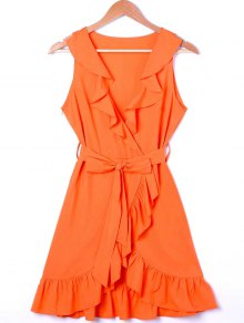 Ruffle Trim Surplice Mini Sun Dress