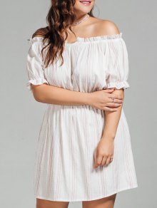 Polka Dot Plus Size Off Shoulder Dress - White 3xl