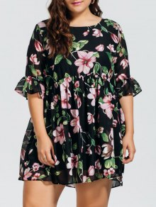Chiffon Plus Size Floral Ruffles Dress - Floral 2xl