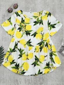 Round Collar Lemon Print Blouse - White L