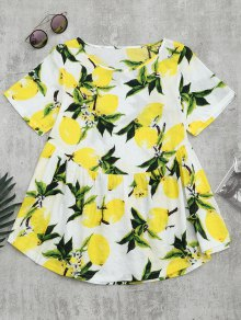 Round Collar Lemon Print Blouse - White Xl
