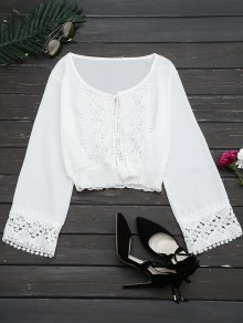 Lace Panel Tassels Crop Blouse - White S