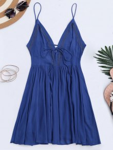 Plunge Low Back Lace Up Sundress - Blue M
