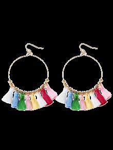 Tassels Cicle Hoop Drop Earrings