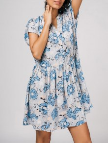 Half Buttoned A-Line Floral Dress