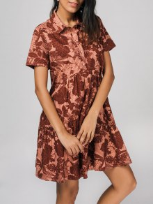 Half Buttoned Flower Shirt Dress