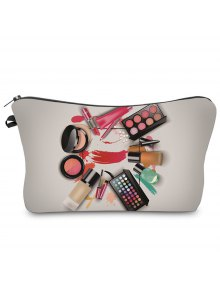 Buy 3D Cosmetics Print Clutch Makeup Bag - GRAY