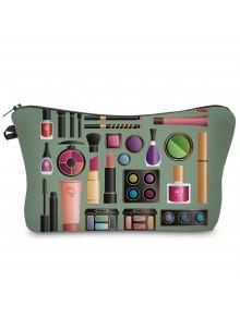 Buy 3D Cosmetics Print Clutch Makeup Bag - ARMY GREEN