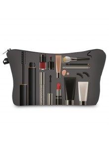 Buy 3D Cosmetics Print Clutch Makeup Bag - DEEP GRAY