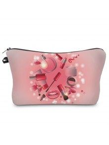 Buy 3D Cosmetics Print Clutch Makeup Bag - PINK