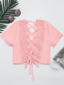Plunging Neck Back Lace Up Crop Top