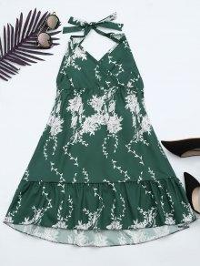 Vestido De Encaje Con Volantes Con Estampado Floral Halter - Verde M