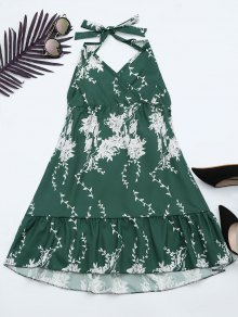 Halter Floral Print Ruffle Hem Dress - Green L