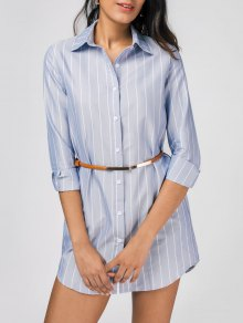Stripes High Low Shirt Dress