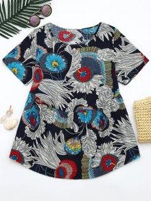 Round Neck Floral Print Blouse - Floral M