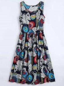 Vestido Estampado Sin Mangas Con Estampado Floral - Floral L