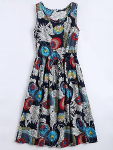 Floral Print Sleeveless Flare Dress