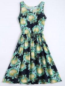 Floral Print Drawstring Sleeveless Dress