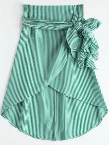 High Waist Ruffled Striped Asymmetric Skirt