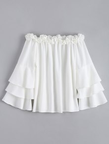 Ruffle Trim Tiered Flare Sleeve Blouse - White L