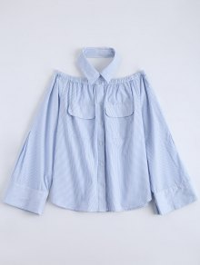 Button Up Striped Pocket Blouse