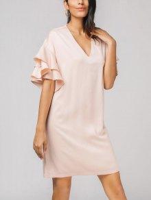 V Neck Flounces Layered Dress - Pink Xl