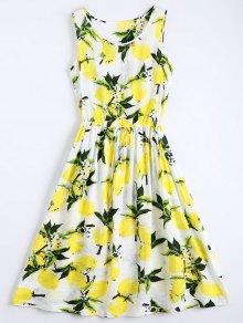 Limón Imprimir Vestido Sin Mangas Con Cordón - Blanco S