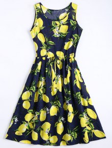 Limón Imprimir Vestido Sin Mangas Con Cordón - Marina De Guerra M