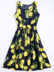 Lemon Print Drawstring Sleeveless Dress - Deep Blue M