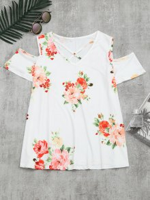 Cold Shoulder Criss Cross Floral Print T-shirt