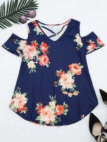 Cold Shoulder Criss Cross Floral Print T-shirt - Deep Blue Xl