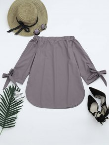 Off The Shoulder Longline Blouse - Smoky Gray M