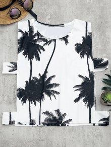 Palm Tree Print Cut Out Tank Top - White M