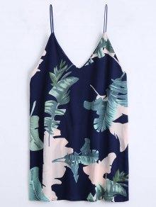 Leaves Print Mini Cami Shift Dress - Purplish Blue M
