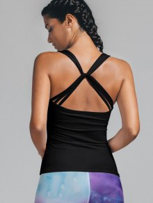 Twist Back Padded Sporty Tank Top - Black M