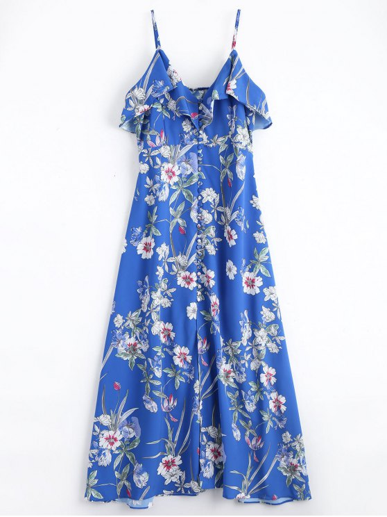 chic Button Up Floral Ruffles Maxi Dress - BLUE M