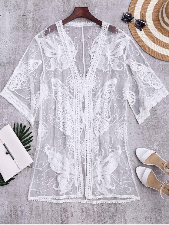 Le kimono transparent bordé de papillons recouvre - Blanc TAILLE MOYENNE